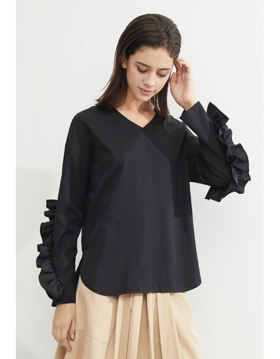TENCEL RUFFLES SLEEVES BLOUSE