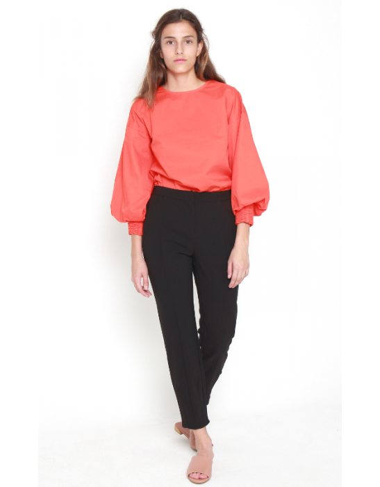 TROUSER WITH DARTED HEM
