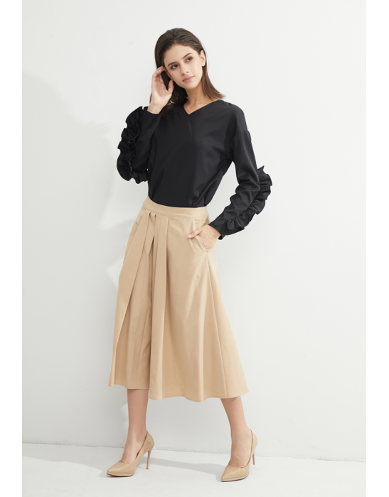 TENCEL SKIRT WITH PATCH POCKETS