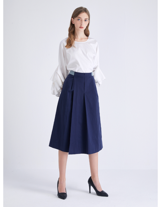 AMOY PLEATED CULOTTE - NAVY