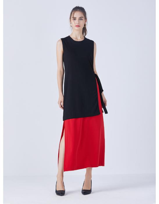BLOCKED SPLIT DRESS - Tencel