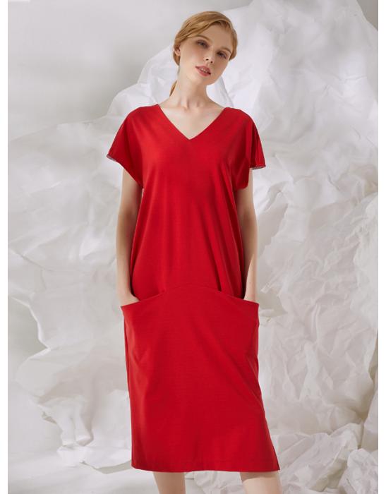 V-neckline Draped Dress