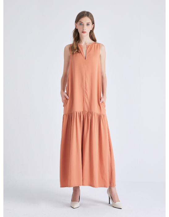 TENCEL LONG DRAPED DRESS