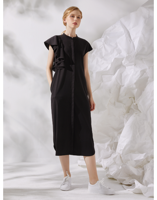 AMOY RUFFLES DRESS - BLACK
