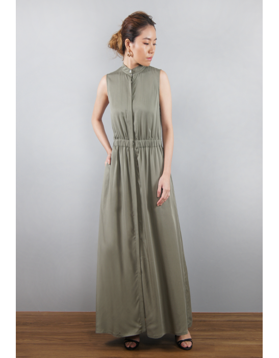 TENCEL A LINE DRESS WITH BUTTONS