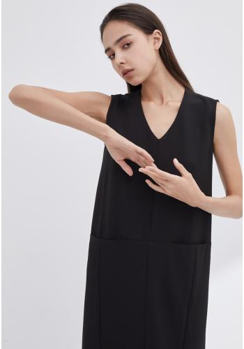 V-NECKLINE VEST DRESS - BLACK