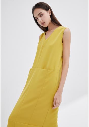 V-NECKLINE VEST DRESS - YELLOW