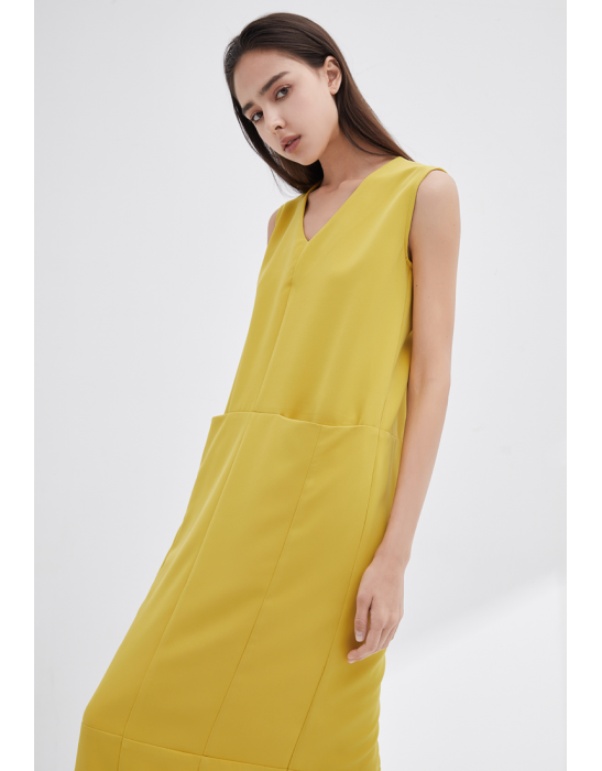 V-NECKLINE VEST DRESS - YELLOW