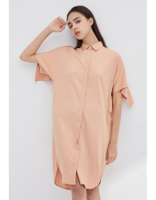 TENCEL BACK RUFFLES DRESS - PEACH