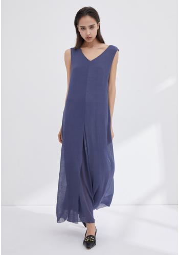 V-NECKLINE SLEEVELESS DRESS WITH SLITS - BLUE