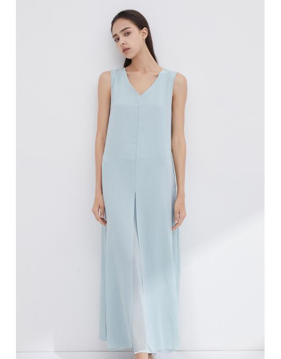 V-NECKLINE SLEEVELESS DRESS WITH SLITS -TIFFANY
