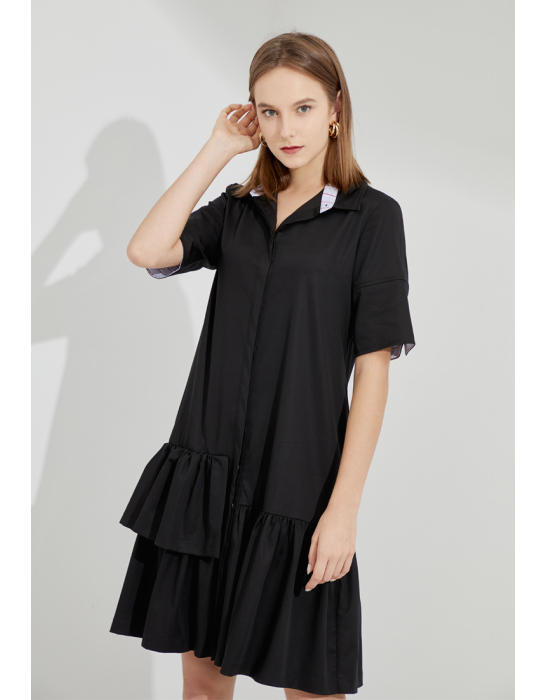 TENCEL FRILLED SHIRT DRESS