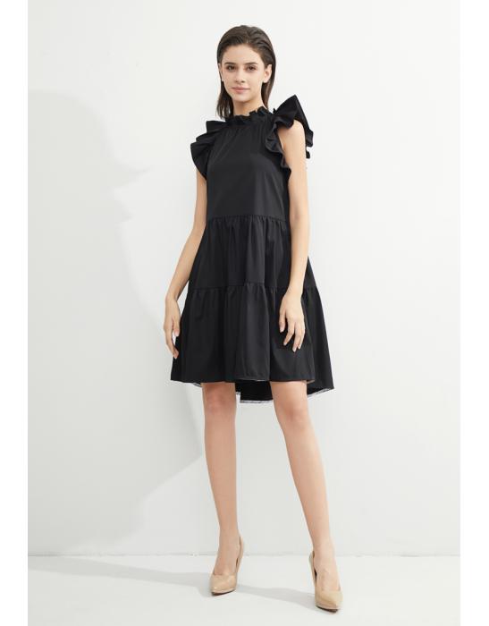 TENCEL RUFFLED TIERED DRESS - BLACK