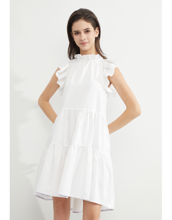 TENCEL RUFFLED TIERED DRESS - WHITE