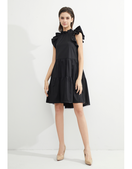 TENCEL RUFFLED TIERED DRESS - BLACK
