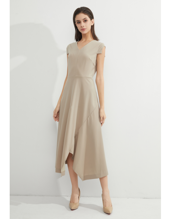 TENCEL ASTMMETRIC CREPE MIDI DRESS - SAND