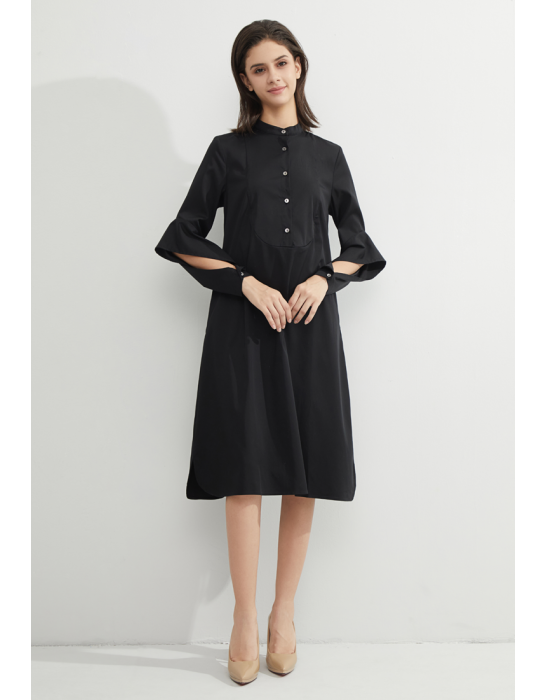 TENCEL OPEN CUFF SHIRT DRESS