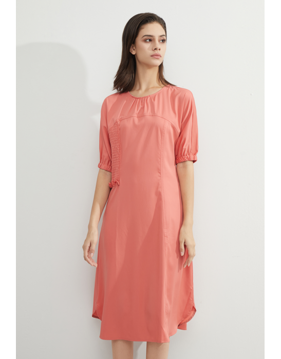 TENCEL SIDE DETAILED DRESS - BRICK