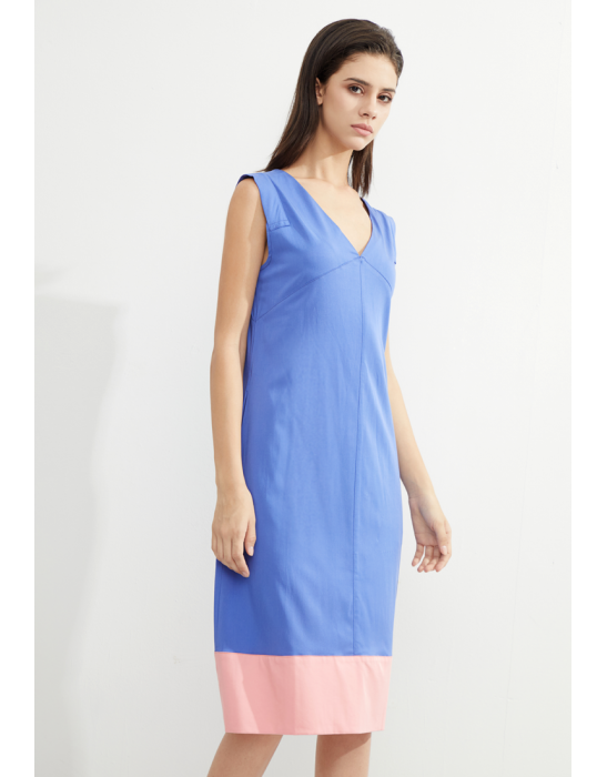 TENCEL COLORBLOCKED A-LINE DRESS