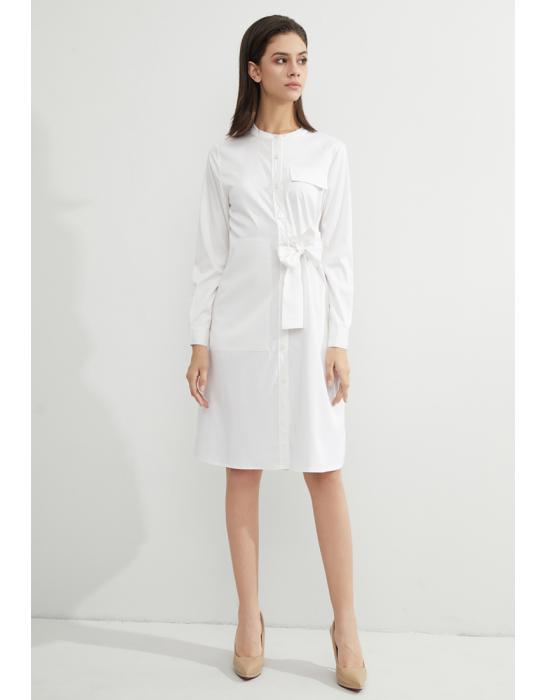 TENCEL TIE SHIRT DRESS -WHITE