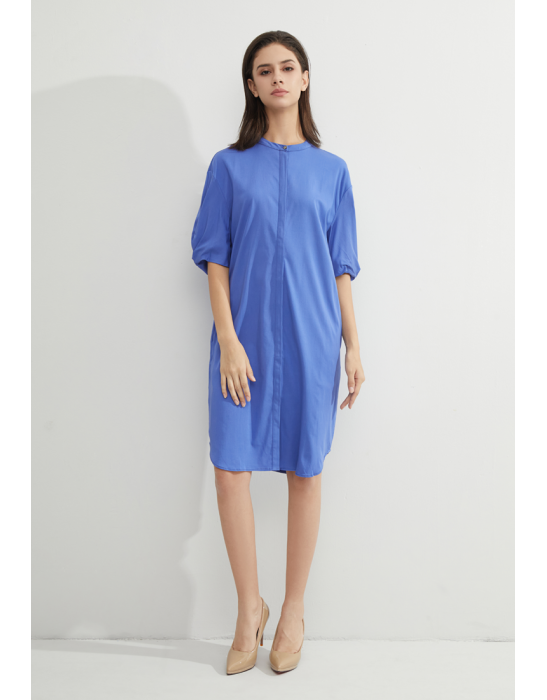 TENCEL COLLAR SHIRT DRESS -  BLUE IRIS
