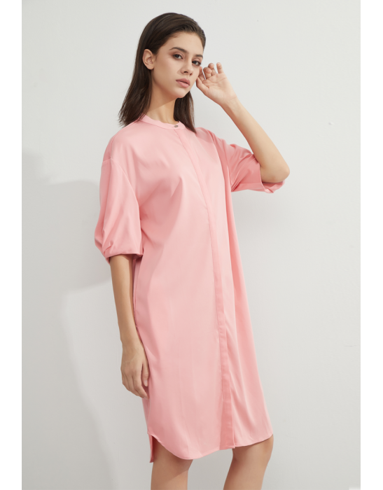 TENCEL COLLAR SHIRT DRESS - PINK