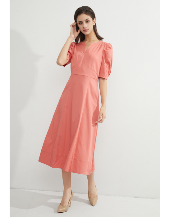 TENCEL PUFF SLEEVE MIDI DRESS