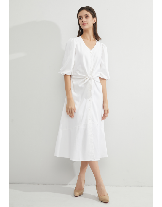 TENCEL SHORT PUFF SLEEVE DRESS -WHITE