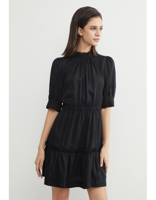 TENCEL TIERED RUFFLES DRESS - BLACK