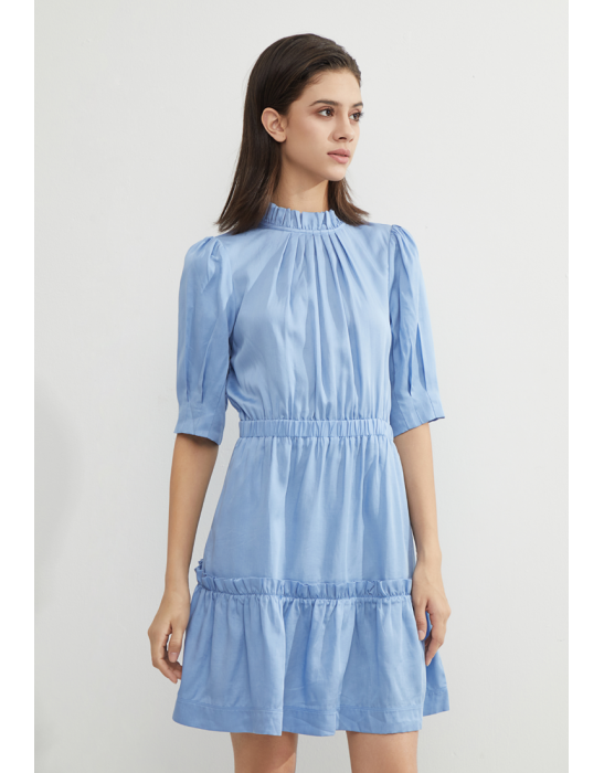 TENCEL TIERED RUFFLES DRESS - BLUE