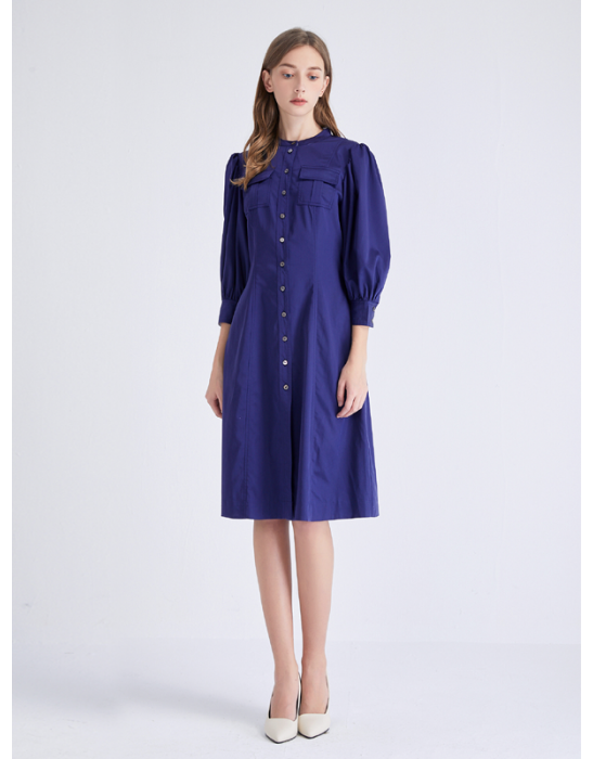 AMOY PUFF SLEEVE SHIRT DRESS - MARINE BLUE