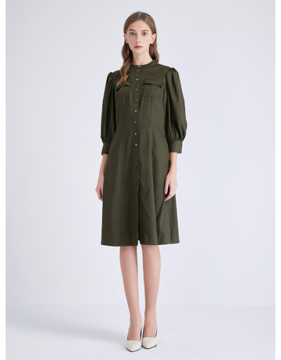 AMOY PUFF SLEEVE SHIRT DRESS - OLIVE