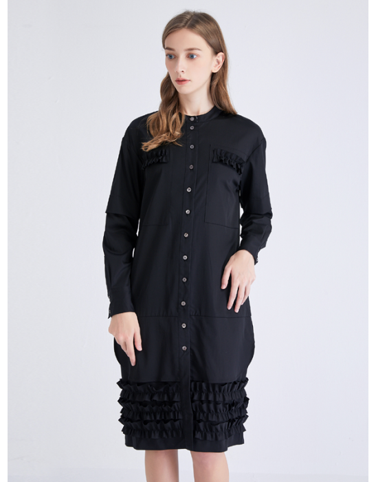 AMOY RUFFLED TRIM SHIRT DRESS -BLACK