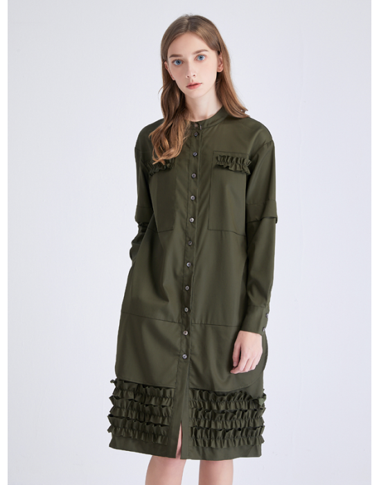 AMOY RUFFLED TRIM SHIRT DRESS - OLIVE