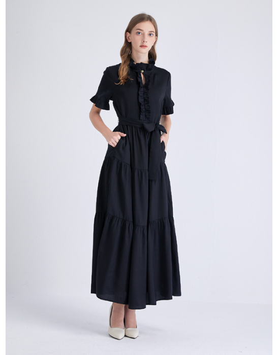 AMOY RUFFLES LONG DRESS - BLACK