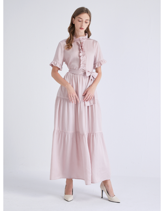 AMOY RUFFLES LONG DRESS - SOFT PINK