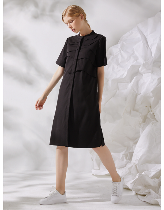 AMOY LAYERED SHIRT DRESS - BLACK