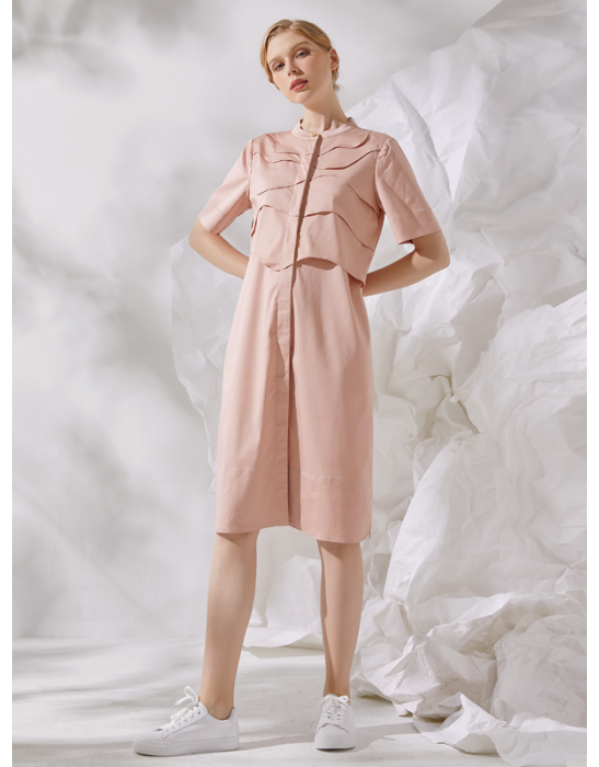 AMOY LAYERED SHIRT DRESS - PINK