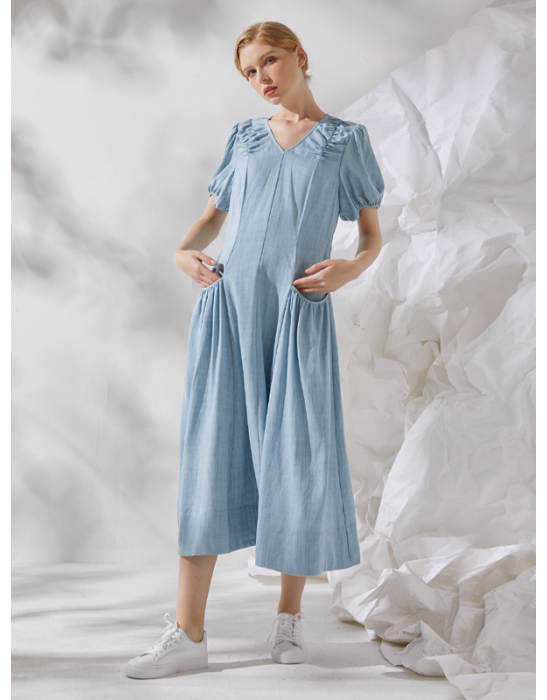 AMOY PUFF SLEEVE DRESS - DENIM