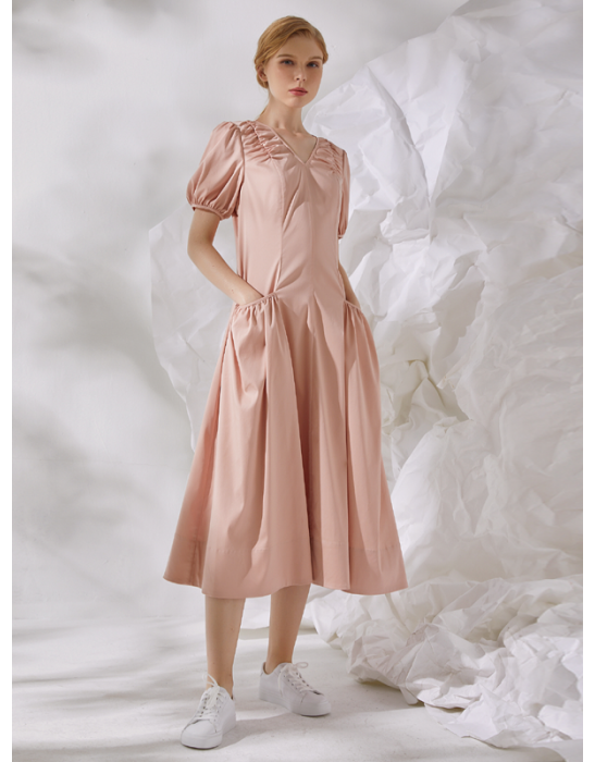 AMOY PUFF SLEEVE DRESS - PINK