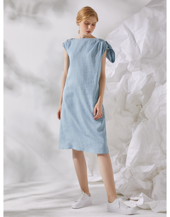 AMOY SHIFT DRESS - DENIM