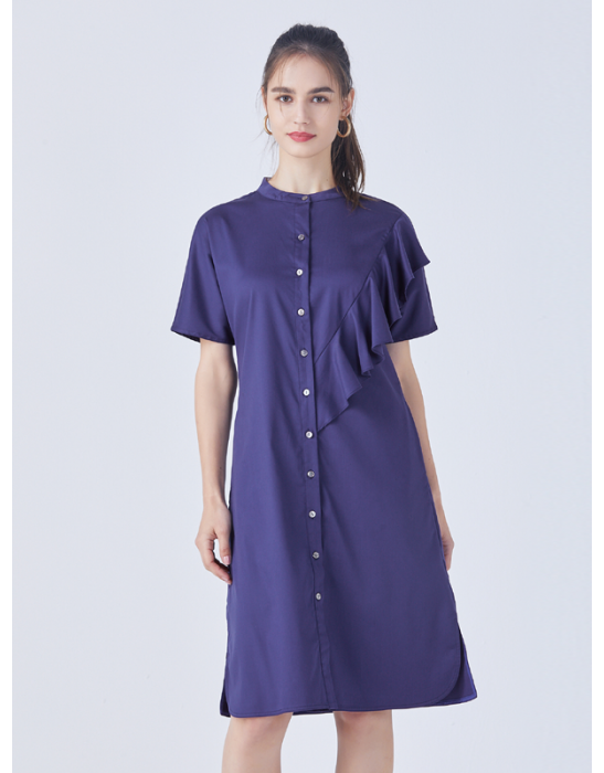 AMOY RUFFLES SHIRT DRESS - NAVY