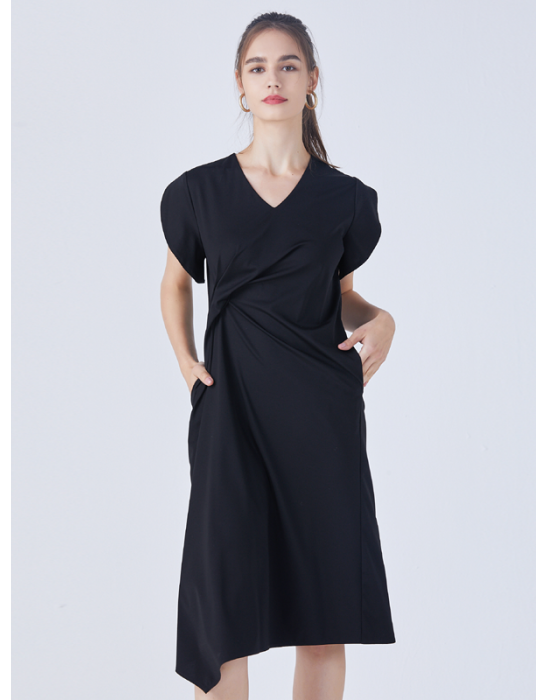 AMOY KNOT DRAPE DRESS - BLACK