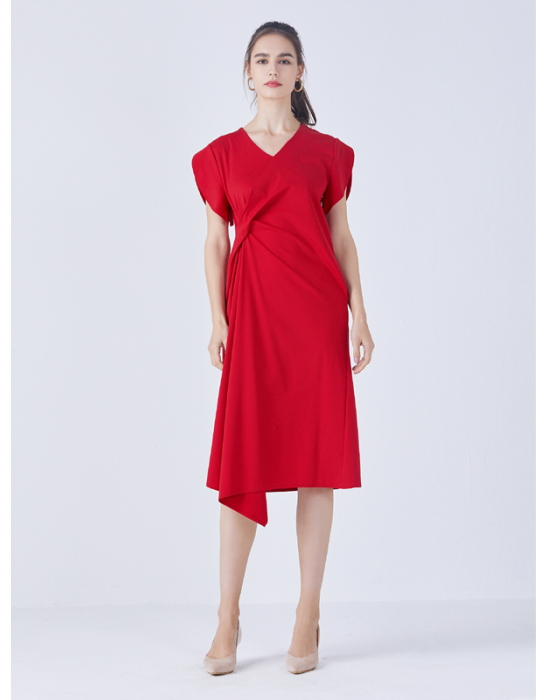 AMOY KNOT DRAPE DRESS - RED