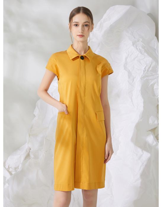 SHELLED BUTTON SHIRT DRESS