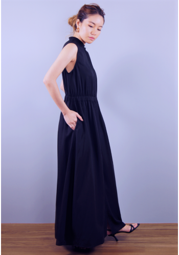 TENCEL A LINE DRESS WITH BUTTON