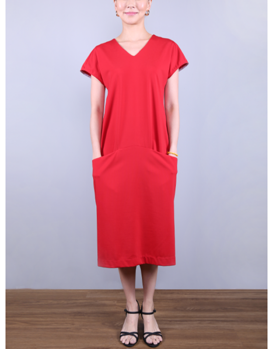 V-neckline Draped Dress